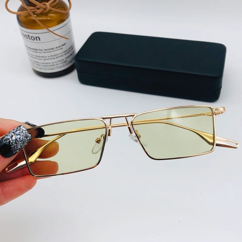 New Korean version of the metal square small frame sunglasses female net red with the same paragraph light green retro glasses
