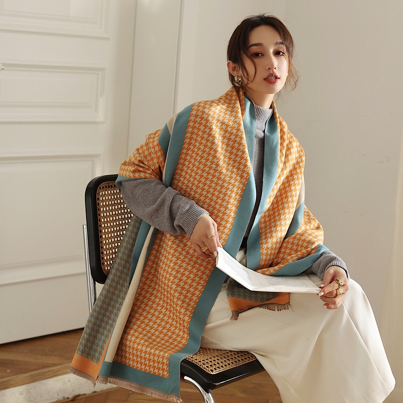 2021 winter new Korean thousand bird lattice warm women's scarf fashion retro imitation cashmere shawl dual-purpose long scarf