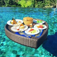 Breakfast outdoor rattan water basket swimming floating pool heart-shaped serving tray