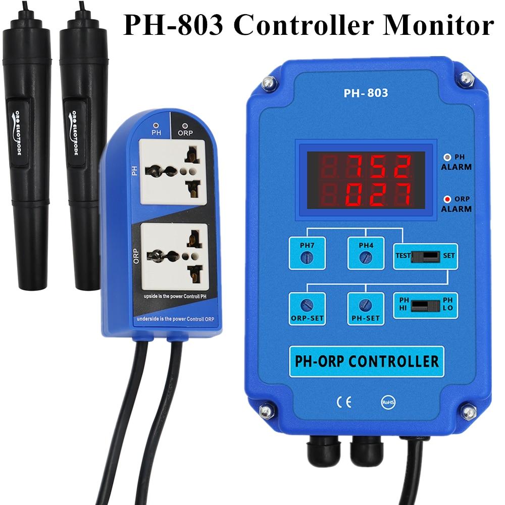 PH-803 الرقمية 2 & 1 PH ORP الأكسدة تحكم ث/الناتج الطاقة التتابع رصد ل حوض السمك الزراعة المائية مصنع بركة سبا BNC 110 فولت أو 220