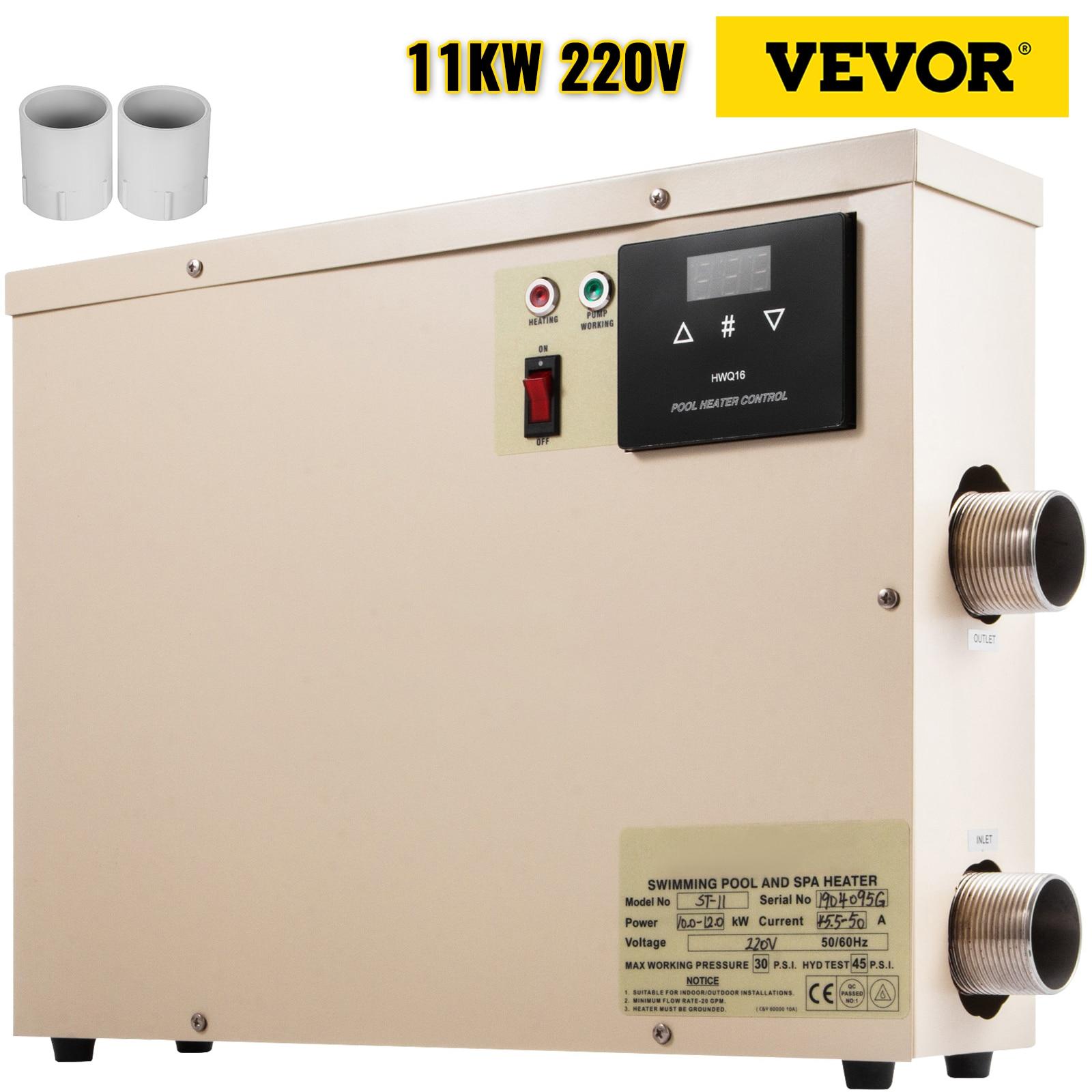 VEVOR جهاز تدفئة المسبح 11KW 220 فولت سبا سخان مياه كهربي مضخة صالح لل ماكس 7.5 CBM بركة معدات سخان المياه ترموستات
