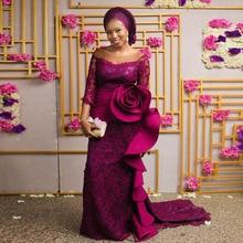 Superbe robe de soirée sirène Fuchsia robe Asoebi Style à manches longues en dentelle robe de bal grande taille Nigeria femmes robe de soirée à volants