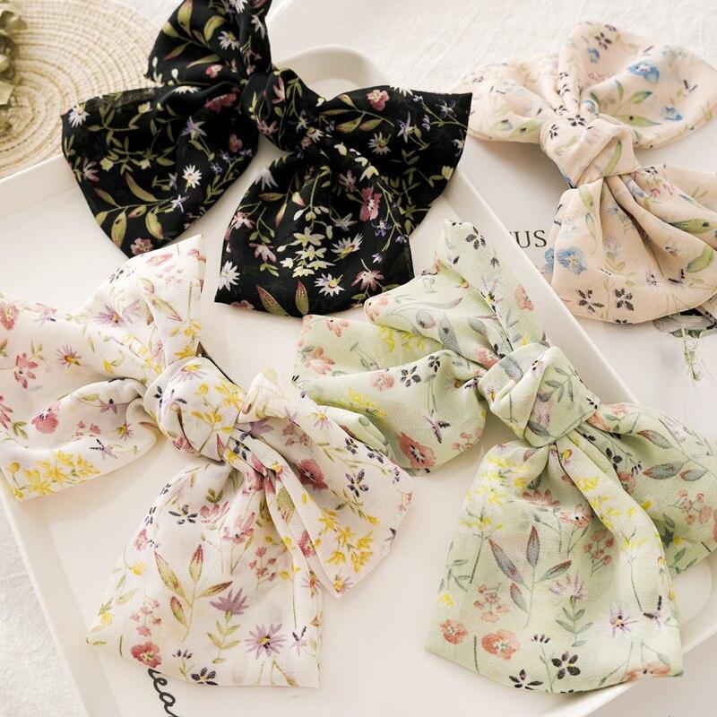 Coréen Vintage nœud papillon deux couches queue de cheval pince florale couvre-chef solide tête fleur épingle à cheveux arc Simple en mousseline de soie femme pince à cheveux cadeau