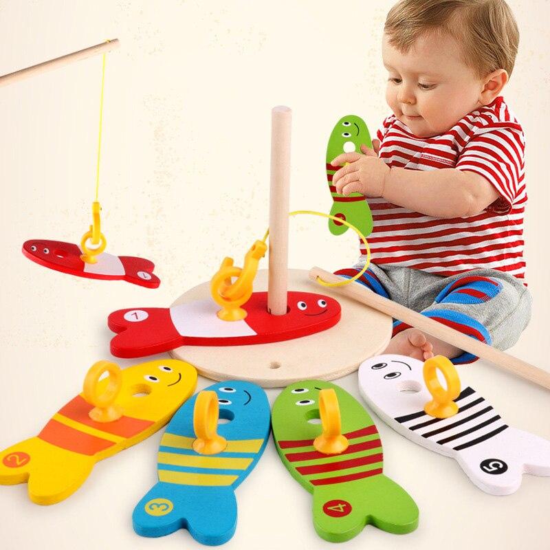 Créatif en bois bébé jouets coloré dessin animé numérique jeu de pêche ensemble éducation précoce jouets éducatifs pour enfants Parent-enfant