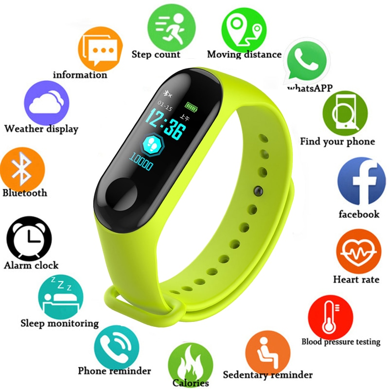 Wristwatch Fitness M3 Color Screen Smart Sport Bracelet Activity Running Tracker Heart Rate For Chil