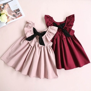 2021 Cute Baby Girls Summer Sundress Bowknot Short Mini Vest Dress Toddler Kids Cotton Casual Dresses Sleeveless Outfit Red Pink