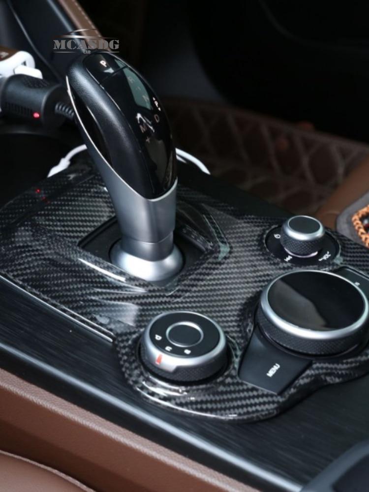 Real Dry Carbon Fiber Gear Shift Cover Interior Sticker Trim Fit for Alfa Romeo Giulia Stelvio 17-20 enlarge
