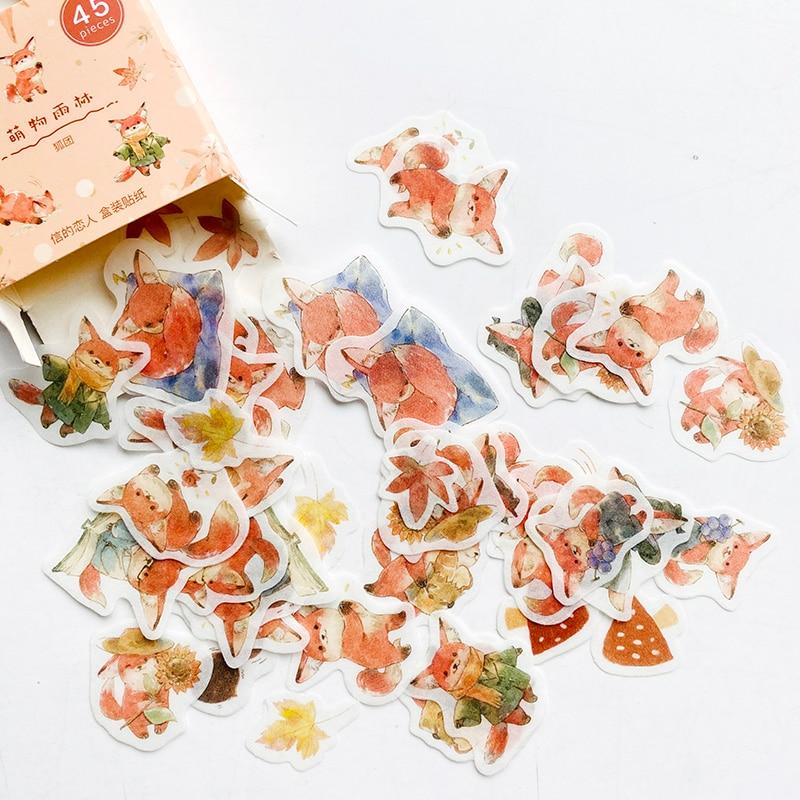 45-pz-scatola-bella-piccola-volpe-maples-carta-fai-da-te-adesivi-decorativi-decorazione
