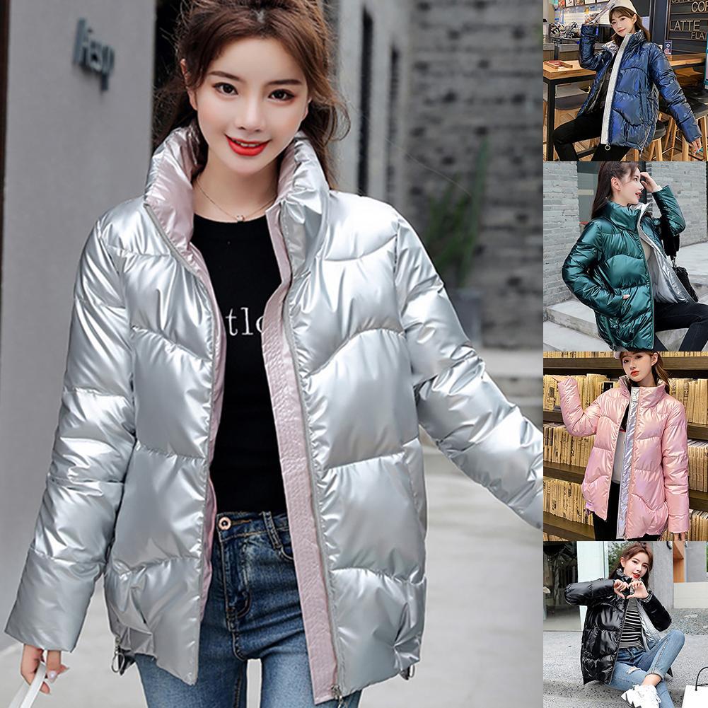 Стильная зимняя модная Женская Блестящая куртка с воротником-стойкой, 2021 пуховик с хлопковой подкладкой, женская короткая парка