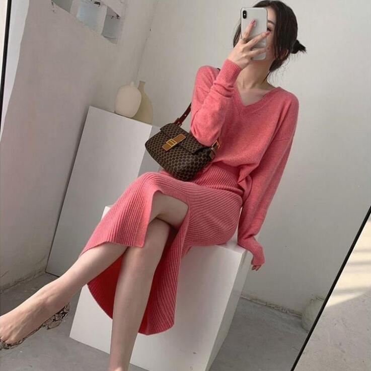 المرأة عادي البلوز سترة و سبليت Bodycon تنورة قطعتين مجموعة مكتب سيدة الخريف الشتاء أنيقة ملابس العمل محبوك مجموعات