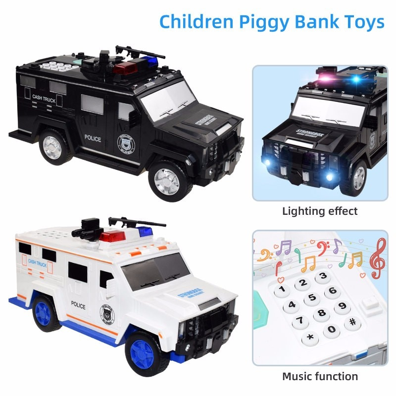 Cartoon Piggy Bank Toys Smart Music Password Banknote Car Coin Bank Figure Toy Pretend Play Saving M