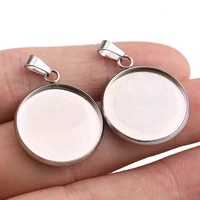 10pclot stainless steel cabochon cameo bracelet charms forjewelry making necklace pendants findings bases tray blank diy bezel
