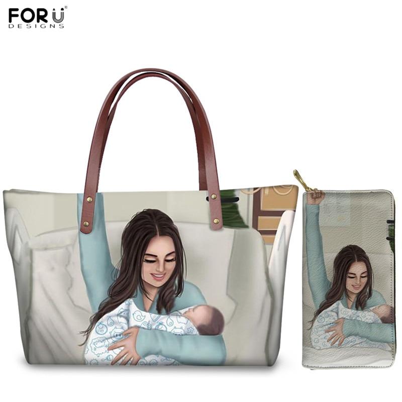 FORUDESIGNS Mother's Love Luxury Handbags Set Super Mama Baby Print Women Large Capacity Shoulder Bag Female Long Leather Wallet