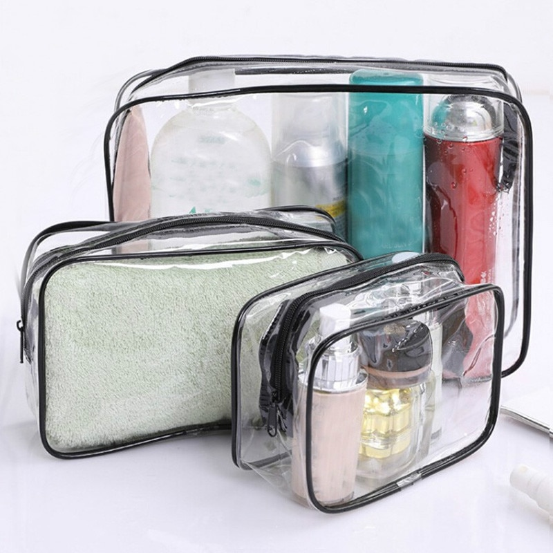 Travel Transparent Cosmetic Bag PVC Women Zipper Clear Makeup Bags Beauty Case Make Up Organizer Storage Bath Toiletry Wash Bag hanging travel cosmetic bag women zipper make up bags oxford high capacity makeup case handbag organizer storage wash bag