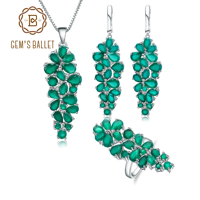 Gems balle natural verde ágata anel de pedra preciosa brincos pingente conjunto para as mulheres de luxo 925 prata esterlina conjuntos de jóias