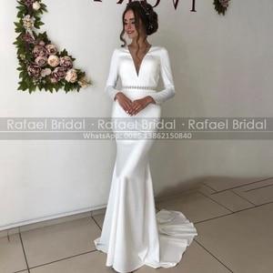 Full Sleeves Sheath Elegant Wedding Dress Backless 2021 Summer Ivory Deep V Neck Sweep Train Straight Bridal Dresses Open Back