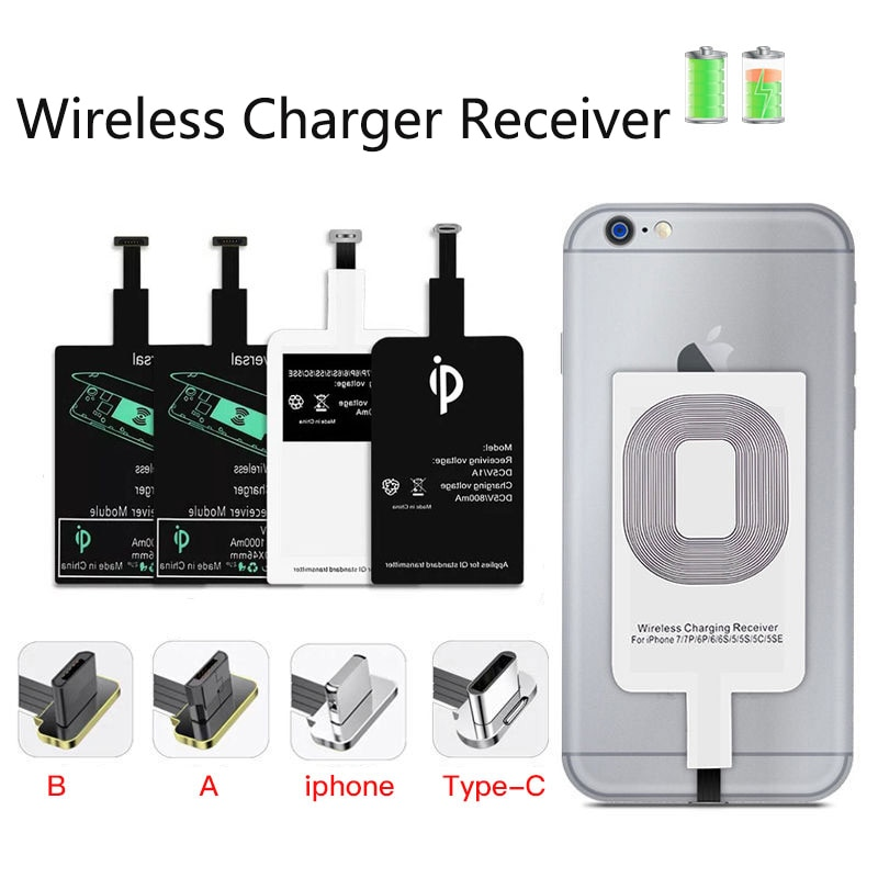 Fast Wireless Charging Adapter For iPhone Android Induction Receiver Coil Qi Wireless Charger Receiv