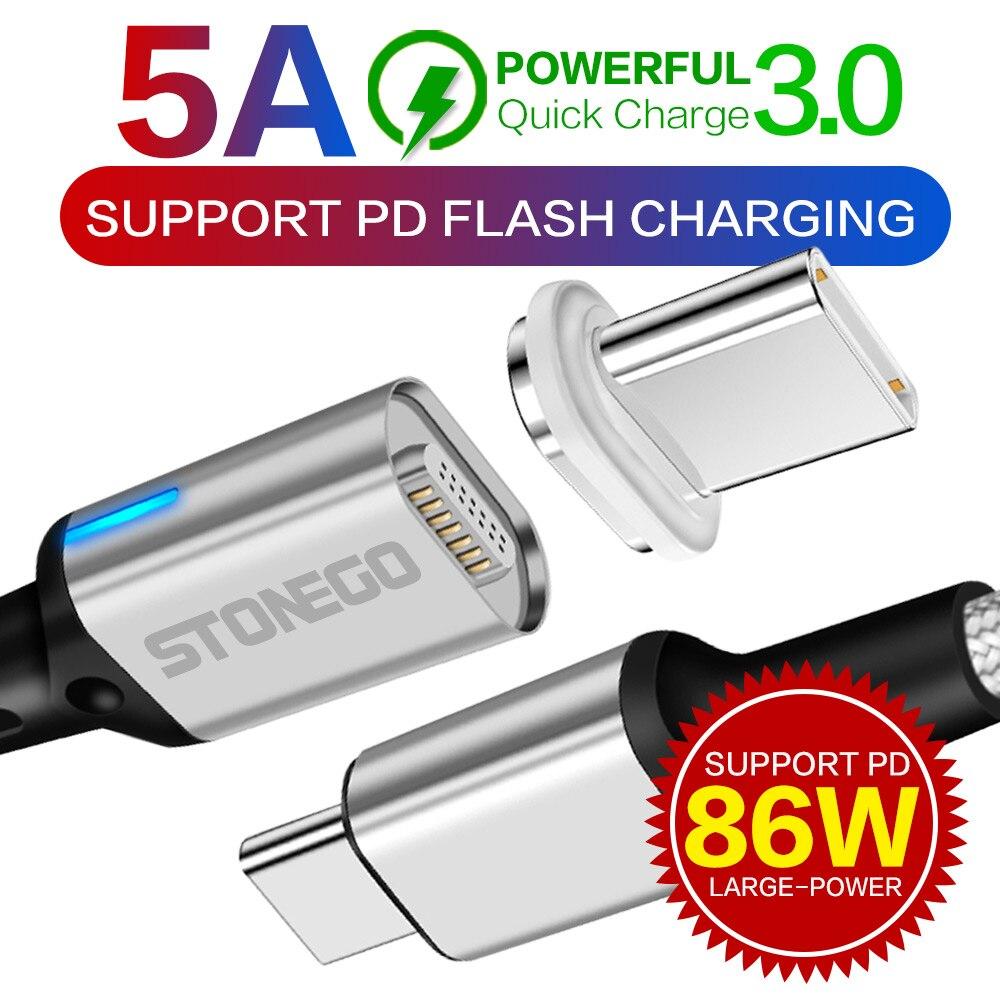 STONEGO Type C naar USB C Magnetische Kabel Voor Nieuwe MacBook Pro Huawei Matebook 86W PD Quick Magneet Charger USB-C Fast Charger Kabels