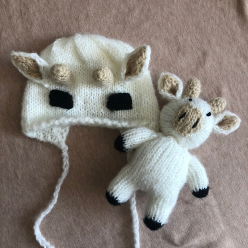 T5EC 2Pcs/Set Newborn Baby Photography Props Crochet Knitted Cute Cow Ox Beanie Hat and Animal Doll Toy Infant Bonnet недорого