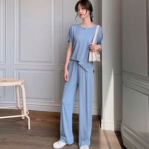 Bodycon Two Piece Set Summer Thin ice Silk loose Wide leg pants two-piece Casual pajamas fashion Suit Short sleeve + long pants