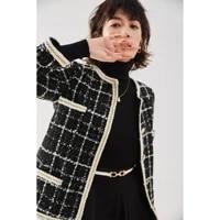 new autumn graceful round neck temperament short coat french elegant lace woven plaid coat for women