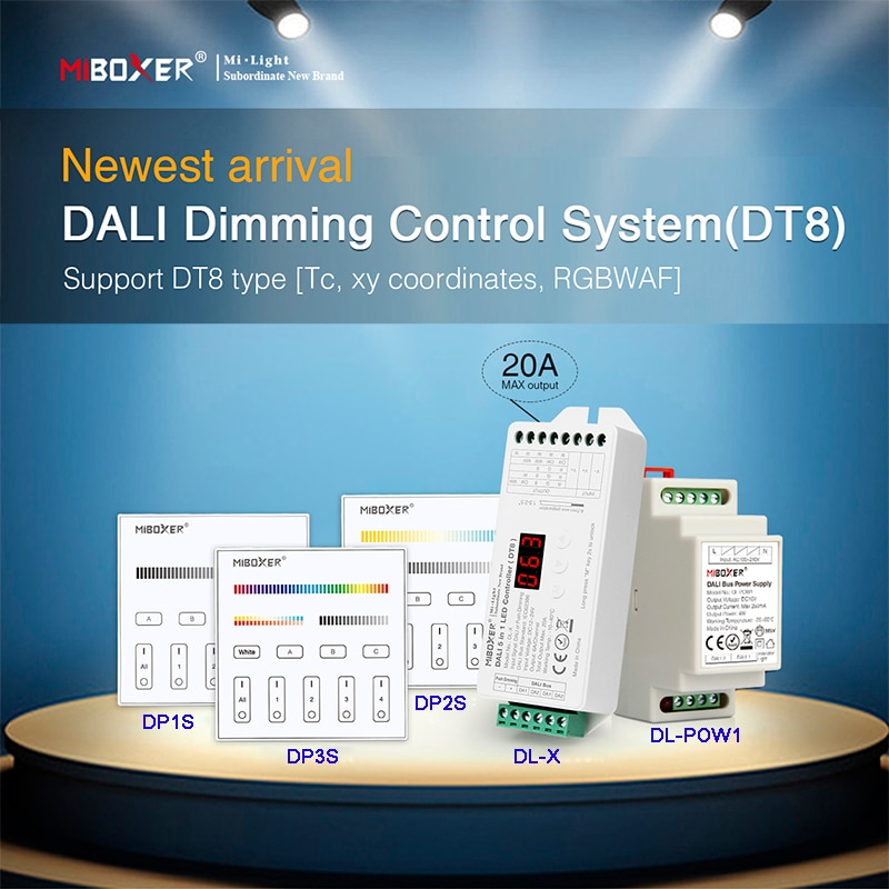 Miboxer DALI Dimming Control System(DT8) 86 touch panel DALI 5 in 1 LED Controller DALI Bus Power Supply DIN Rail for led lamps