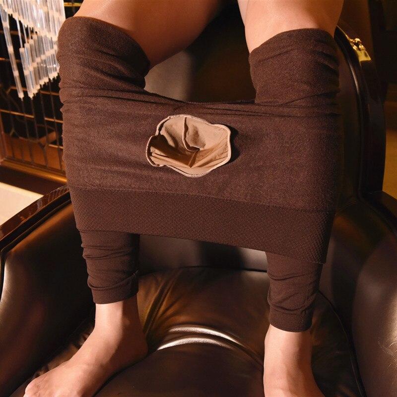 Funda grande para hombre, ropa interior térmica, medias calentadoras de pierna, Media cintura, ajustado sin costura, Ninth Pants Velvet para hombre, Otoño Invierno