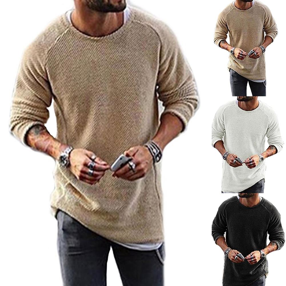 Мужская Повседневная Удобная однотонная трикотажная рубашка S/M/L/XL, Свитер спандекс пуловер с круглым вырезом и длинными рукавами, Свитер