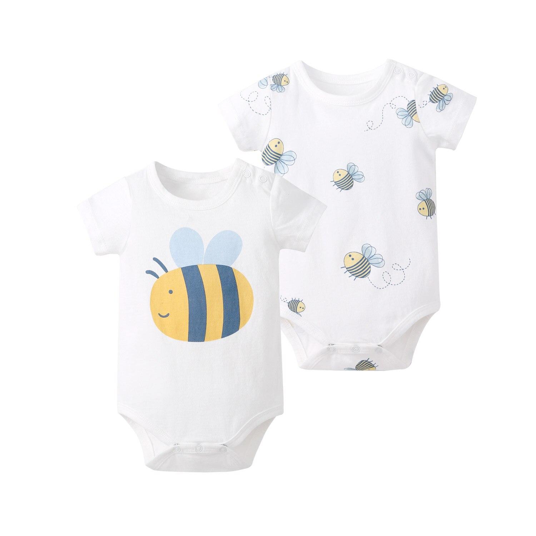 Pureborn 2-Pack Newborn Unisex Baby Bodysuit Cartoon Bees Short Sleeve Bodysuit Baby Boy Girl Clothes Onesies Summer Outfit