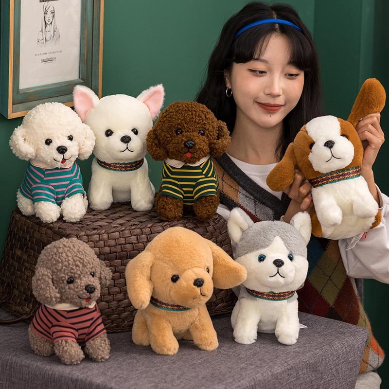 Muñecos de peluche de 20cm para niños, peluches de perro Husky Chihuahua,...