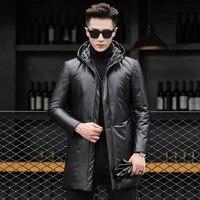 slim fit leather jacket medium and long leather down jacket mens sheep leather jacket mens hooded jacket tide korean