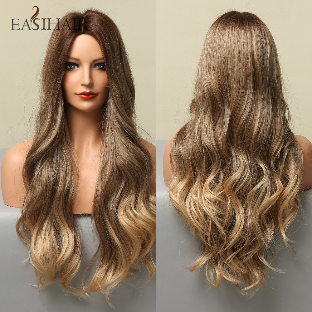 AliExpress - EASIHAIR Long Medium Brown Ombre Synthetic Wig for Women Wavy Wigs Middle Part Natural Soft Hair Wig Cosplay Heat Resistant