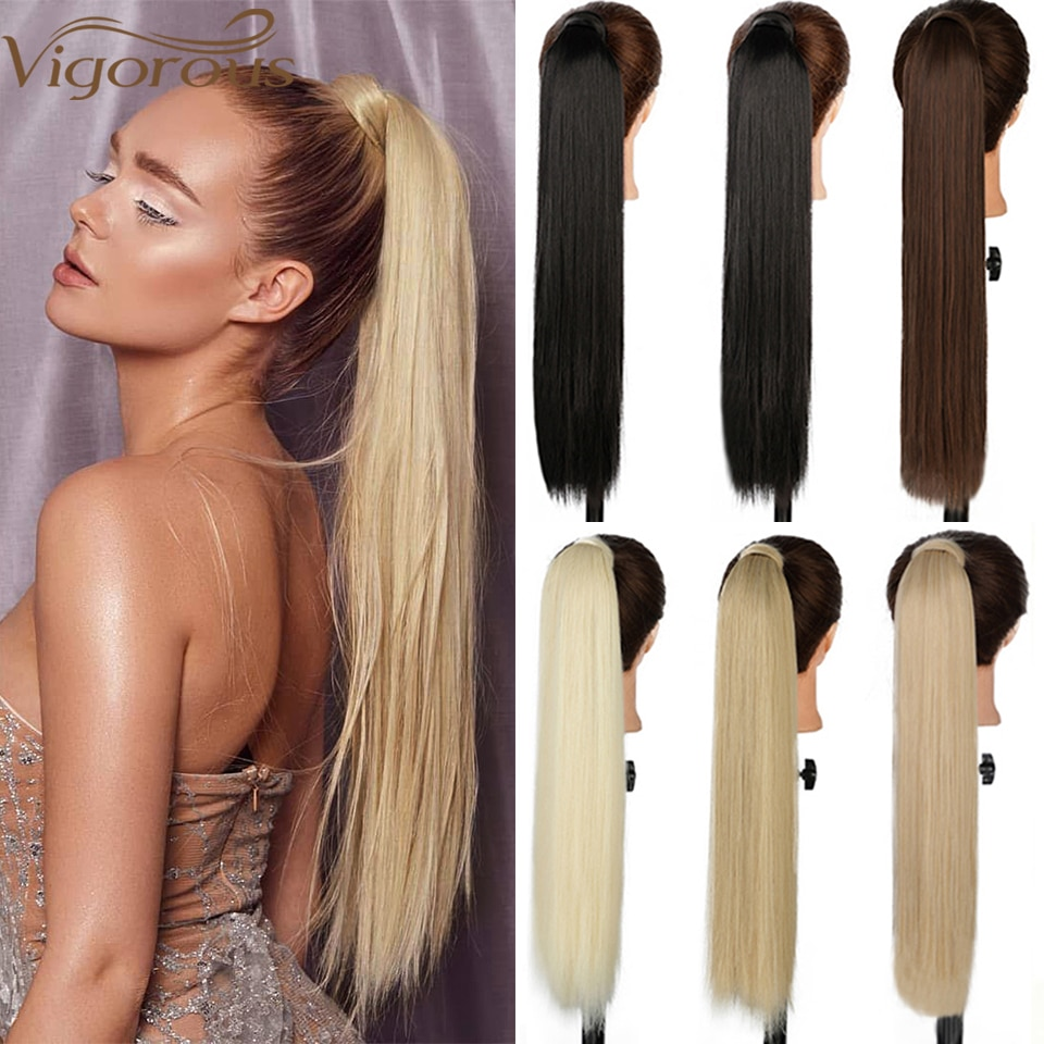 Vigorous Long Straight Synthetic Wrap Around Clip In Ponytail Hair Extension Heat Resistant Ponytail Fake Hair