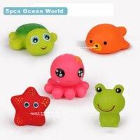 Мягкие детские игрушки для ванной 5 шт./компл., Мультяшные животные, зажим под названием, игрушка для плавания, утка, мягкие игрушки-Стрелялки...