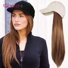 HUAYA-Peluca de pelo largo y liso sintético, gorra de béisbol, Natural, negro, marrón, sin costuras