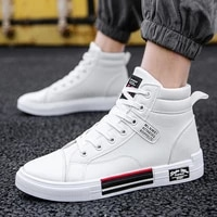 mens boots autumn winter fashion sneakers white black outdoor casual boys shoes waterproof leather male tennis shoes