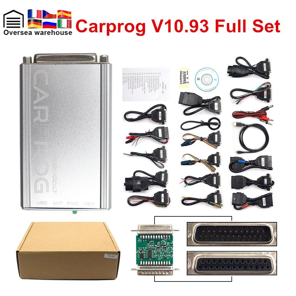 Top Bewertet Volle Carprog V 10,93 Auto Reparatur Werkzeug Auto Prog 10,93 Software Update Von V 9,31 Mit 21 Adapter obd2 Airbag Reset Tool
