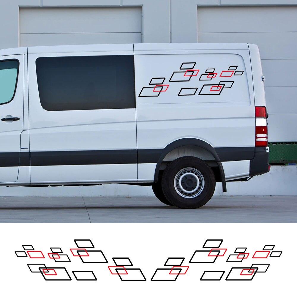 2 unids/lote pegatinas de coche autocaravana rayas Camper Van DIY gráficos calcomanías...
