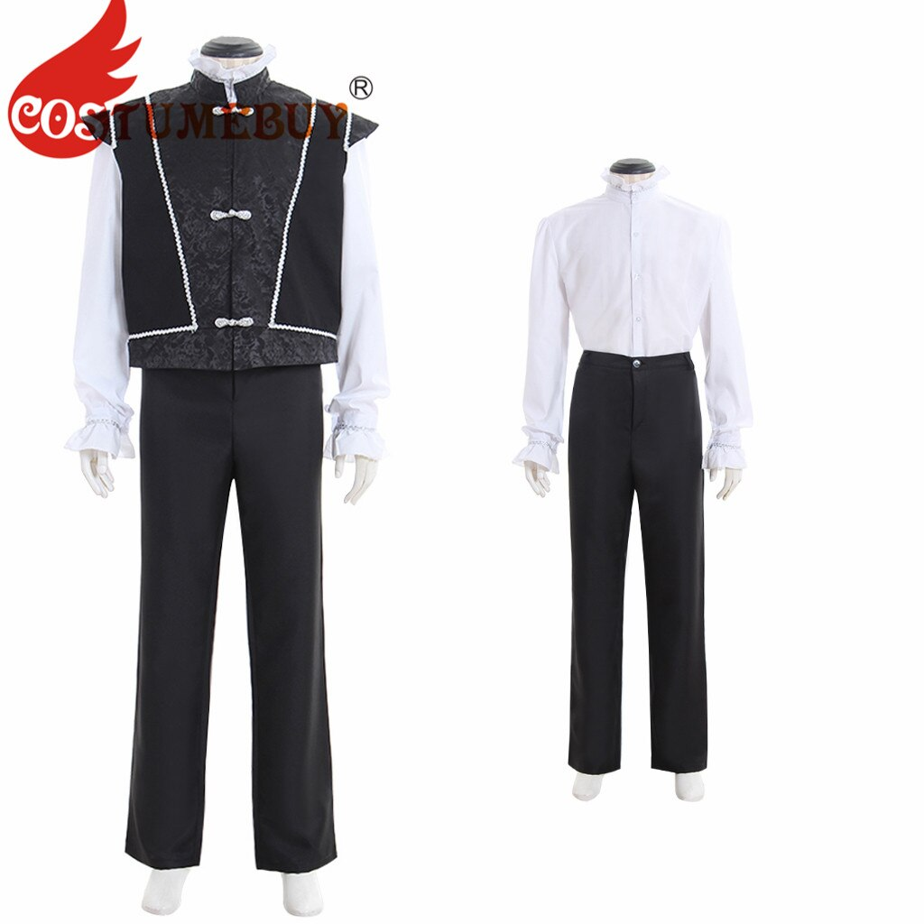 Customebury Medeival Renaissance Tudor elegante Noble corte Jerkin chaleco pantalones Doublet traje para hombre traje de vigging L920