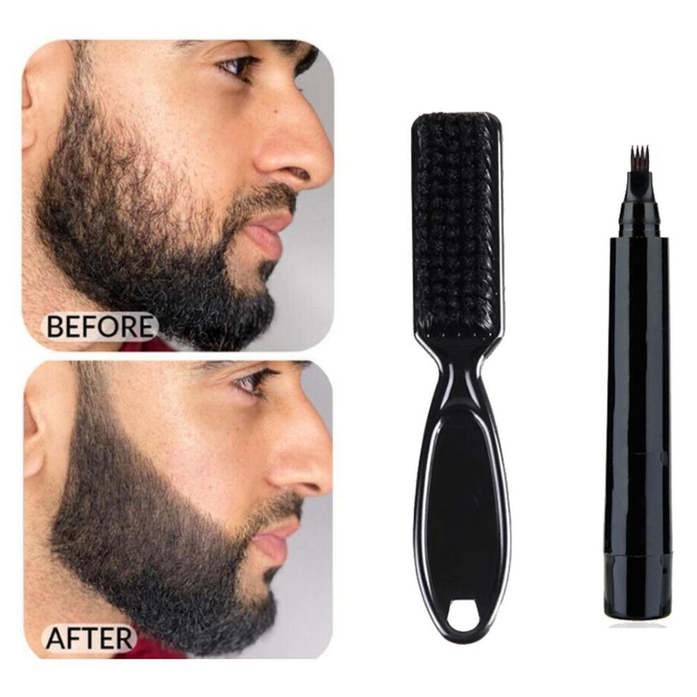 New Hot sale Beard Pen Beard Filler Pencil And Brush Beard Enhancer Waterproof Moustache Coloring Shaping Tools Hair Pencil