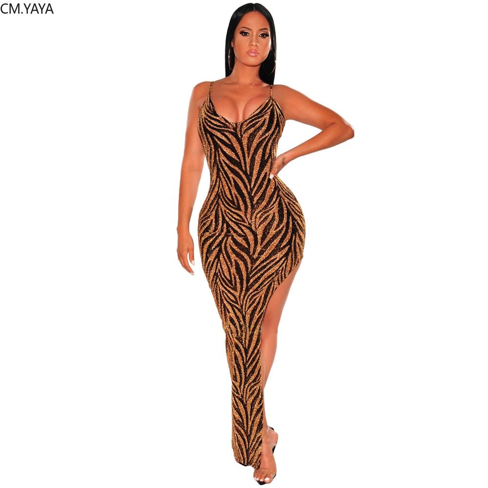 Femmes hiver longue robe Maxi Bling or col en v sangle Sexy robe ouverte Club soirée bande moulante robes irrégulières GLG0251