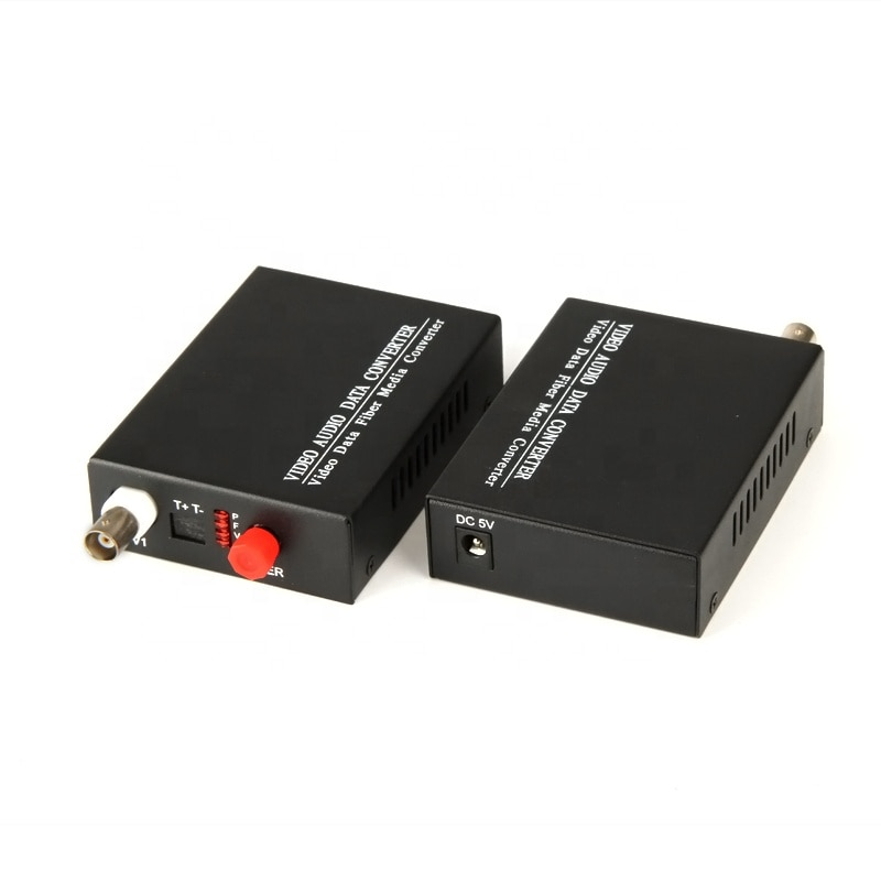 1 Pair Single Mode Single Fiber Desktop 1 Channel Analog Fiber Optic Video Converter enlarge