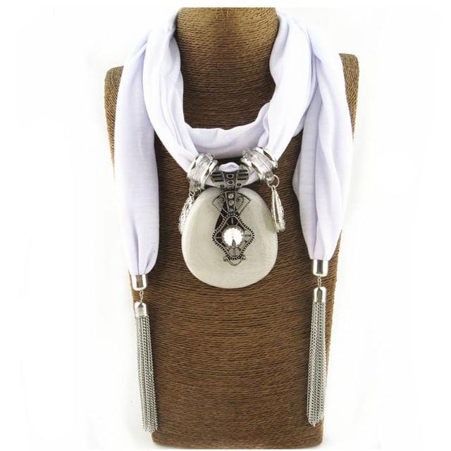New Women Necklace Scarves Pendant Jewelry Tassels Scarf Shawl Wrap scarf women echarpe hiver femme