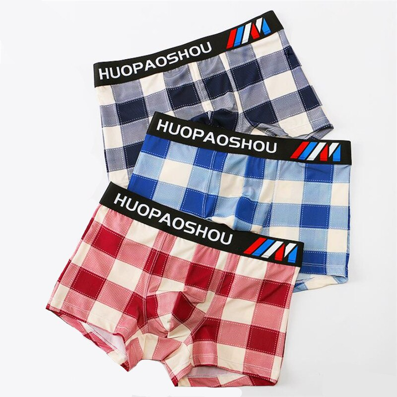New Summer Ice Silk Plaid Man Comfortable Breathable Underwear For Men Brand Letter Boxers Boxershorts
