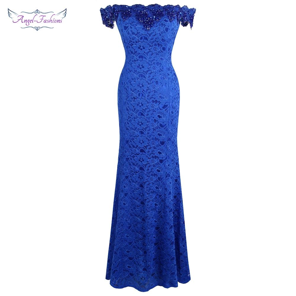 Angel-fashions Women's Off Shoulder Floral Lace Satin Mermaid Evening Dresses Long Royal Blue W-190813-L