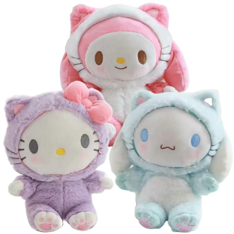 20 Cm My Melody Cinnamorol Kitty Soft Stuffed Plush Dolls Cute Anime Kawali Dogs Backpack Cats Travel Bags Kids Toys Girls Gift
