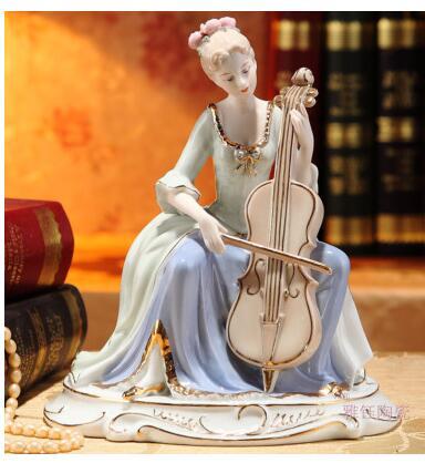 Esculturas de cerámica europeas de alta calidad, figuras para el hogar para mujeres, estatua de belleza de palacio occidental para chicas, cello, casa de boda