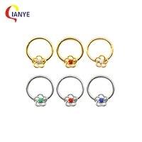 316l surgical steel flower nose septum clicker piercing ear cartilage helix tragus earrings rings piercing stud for women men
