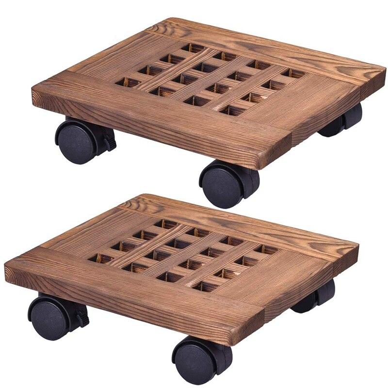 Fashion-2Pcs maceta de madera bandeja extraíble soporte de planta con Base de rueda maceta para flor MARCO DE carrito móvil Gar