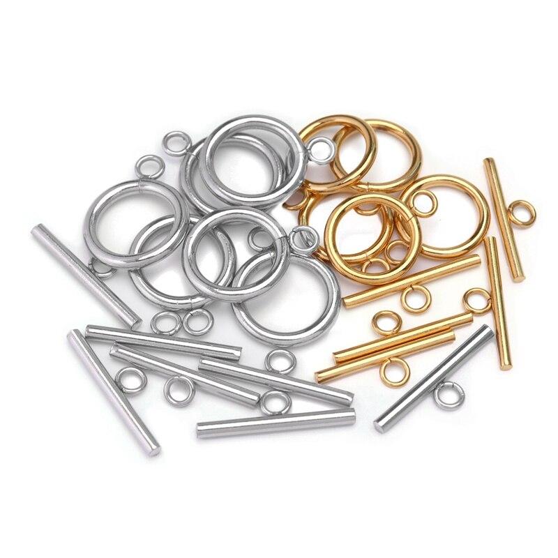 4 conjunto de ouro cor prata círculo liso ot fecho pulseira colar toggle fecho para fazer jóias diy encontrar acessórios a granel